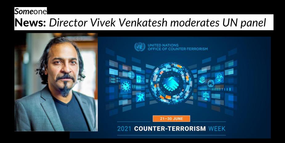 Someone news: Director Vivek Venkatesh moderates UN panel