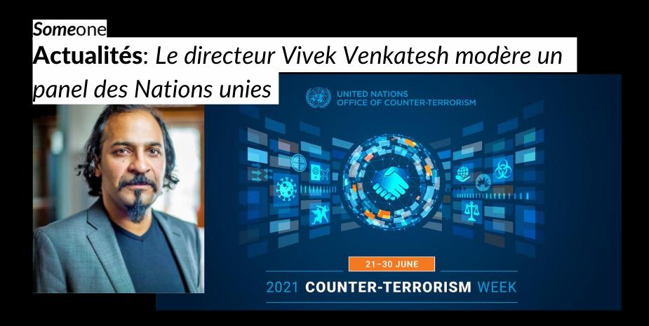 Le directeur Vivek Venkatesh modère un panel des Nations unies